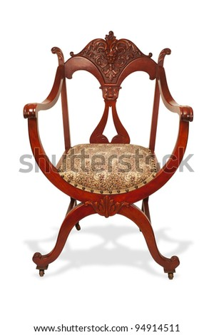 Antique American Mahogany Chair made in the 1890's. - stock photo