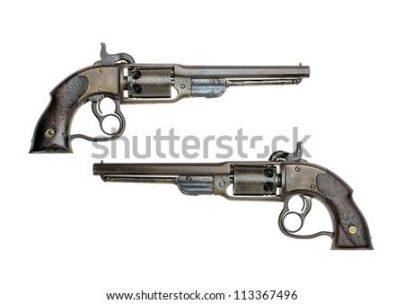 antique american percussion revolver - stock photo