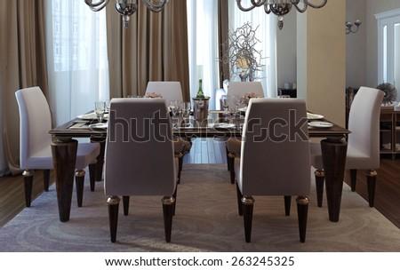 Antique Art Deco Dining Room 3 D Stock Illustration 263245325 ...