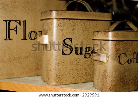Antique Baking Canisters - stock photo