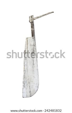 Antique big rudder isolated on white background - stock photo