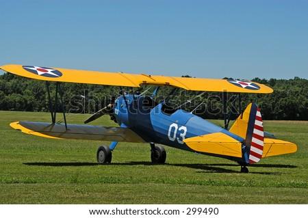 Antique Biplane No1 - stock photo