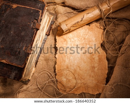 antique book and old papers - stock photo