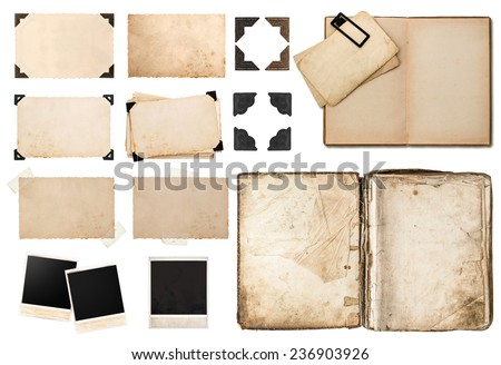 antique book, vintage paper card with corners, tapes and frames, photo cardboard, instant photo polaroid, postcard isolated on white background - stock photo