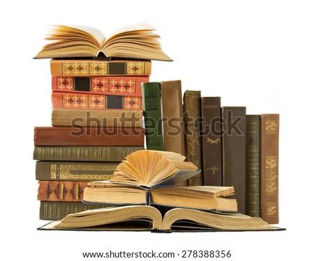 Antique books shelf isolated on white background - stock photo