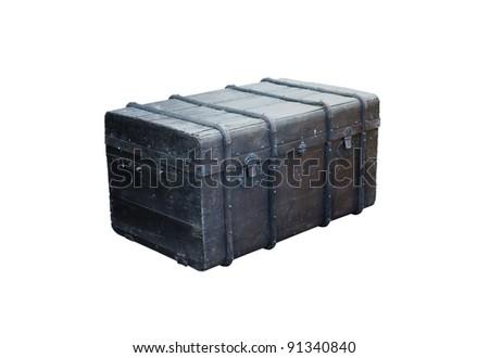 antique  box isolated on white background - stock photo