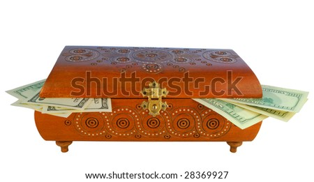 antique box with money, in-out safe close up - stock photo