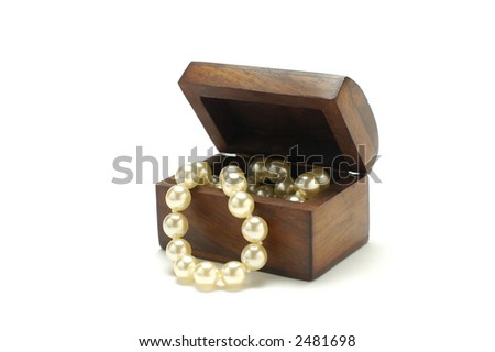 Antique box with pearls isolated on white