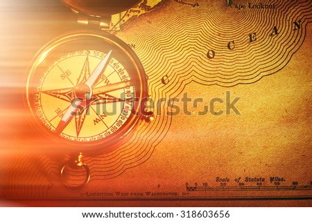 Antique Brass Compass Map Over Stock Photos RoyaltyFree Images - Old us map background