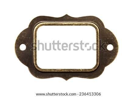 Antique brass name plate, isolated - stock photo