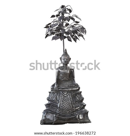 Antique bronze buddha with tiered isolated on white background - stock photo