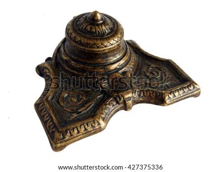 Antique Bronze inkpot isolated on white background - stock photo