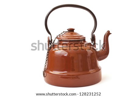 antique brown kettle - stock photo