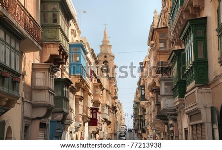 Antique buildings in a street of Valletta