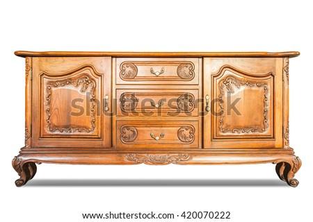 Antique cabinet wood isolated on white - stock photo