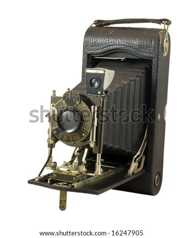 Antique camera against white background - stock photo