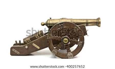 Antique cannon isolated over white - stock photo