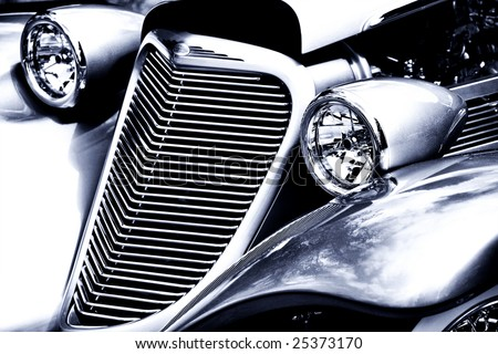 Antique Car Headlight and Grill Black & White - stock photo