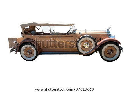 Antique car isolated on the white background - stock photo