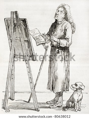 Antique caricature of an art critic, created by Watelet after Portien in 1750, published on Magasin Pittoresque, Paris, 1850 - stock photo