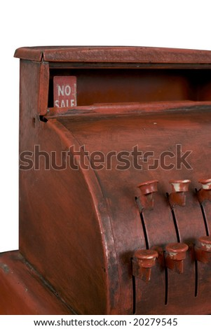 """Antique cash register showing """"No Sale"""" in the pop-up amount display. Isolated with work path. - stock photo"""