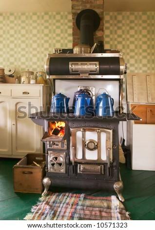 Antique Cast Iron Wood Burning Kitchen Stove