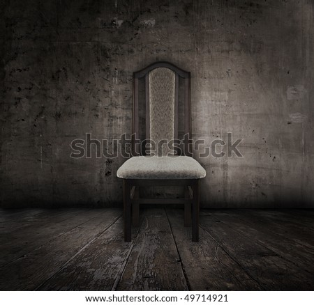 antique chair in old grunge interior - stock photo