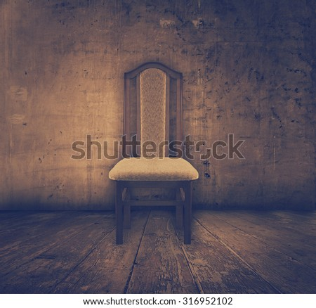 antique chair in old grunge interior, retro film filtered, instagram style - stock photo
