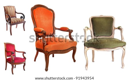 antique chairs in front of white background - stock photo