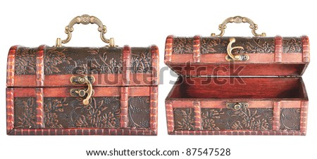 antique chest isolated on white background - stock photo