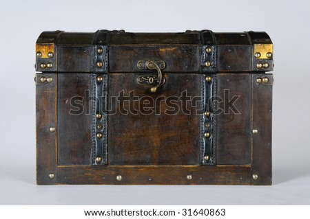 antique chest on white background - stock photo