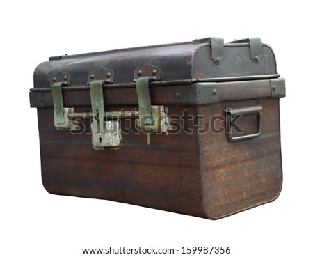 Antique chest on white background, clipping path - stock photo