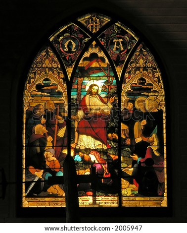 antique church window with Jesus painting