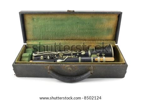 Antique Clarinet and Case Isolated on White Background - stock photo