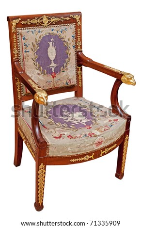 Antique classic armchair isolated on white. Clipping path included. - stock photo