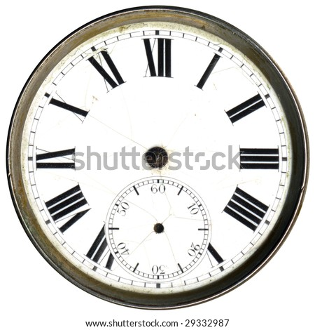 Antique clock face without hands - stock photo