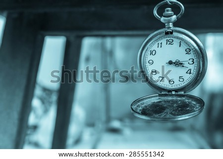 Antique clock in vintage style. - stock photo