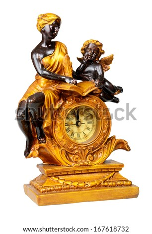 Antique clock, minutes to twelve. Isolated over white with clipping path.