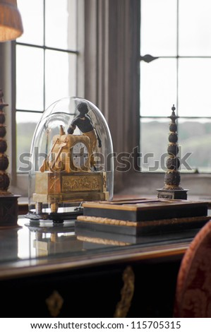 Antique clock on a desk