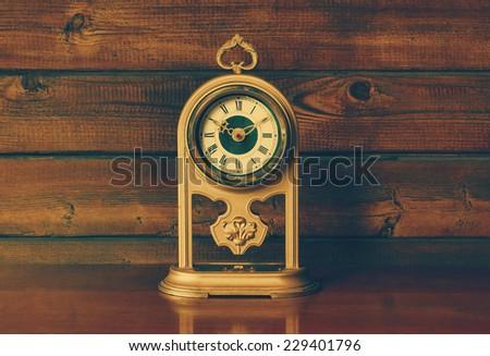Antique Clock, retro filtered, instagram style - stock photo