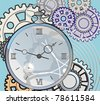 antique clock with a crack on the face, against a background of gears - stock photo