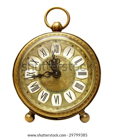 Antique clock with roman numerals isolated on white background - stock photo