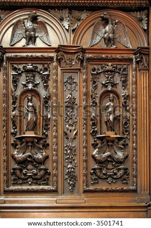 Antique Wardrobe Beautiful Wood Carvings On Stock Photo