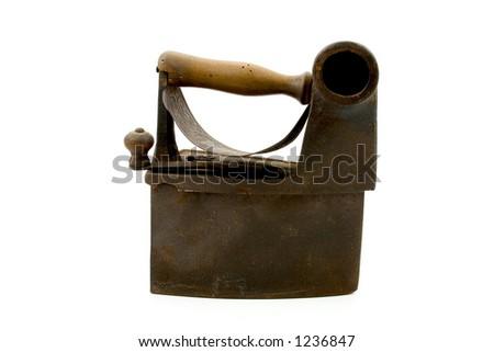 antique coal iron - stock photo