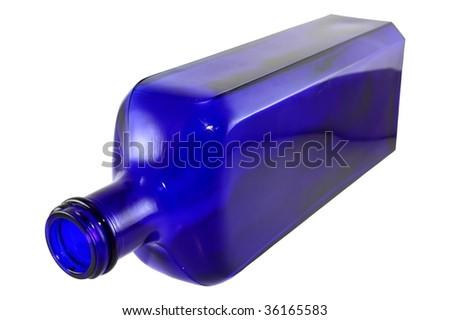 Antique cobalt blue bottled isolated - stock photo
