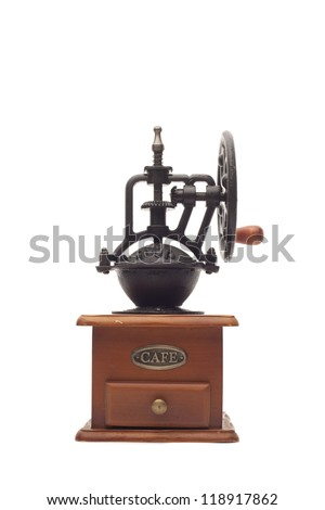 Antique coffee mill isolated on white background