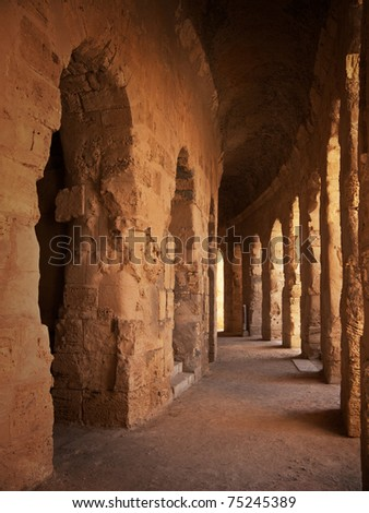 "Antique coliseum hallway, ""El Djem"" - Tunisia - stock photo"