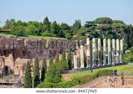 Antique colonnade in the ancient part of Rome - stock photo