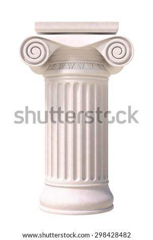 Antique column in greek style. Front view. Isolated on white background. - stock photo