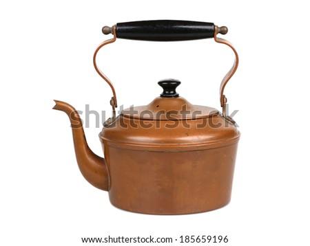 Antique Copper Teapot - stock photo